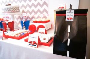 Race Car themed birthday party via Kara's #Party #Ideas KarasPartyIdeas.com #supplies #beepbeep #car #birthday #cake #cupcakes -2