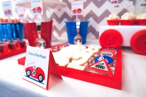 Race Car themed birthday party via Kara's #Party #Ideas KarasPartyIdeas.com #supplies #beepbeep #car #birthday #cake #cupcakes -3