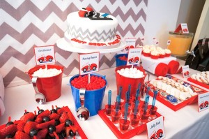 Race Car themed birthday party via Kara's #Party #Ideas KarasPartyIdeas.com #supplies #beepbeep #car #birthday #cake #cupcakes -6