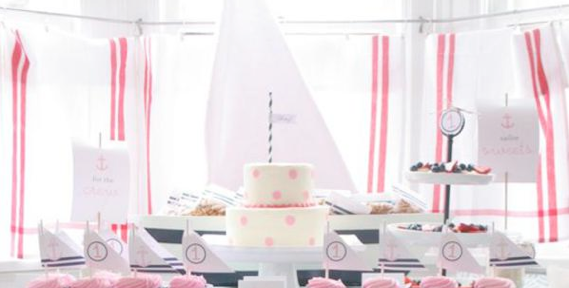 Sailor Girl Nautical themed birthday party via Kara's Party Ideas KarasPartyIdeas.com #nautical #party #idea #baby #shower #girl #navy #sailor