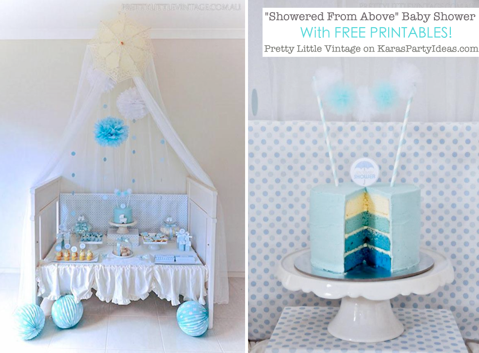 Showered from above rain themed baby shower with FREE PRINTABLES via Kara's Party Ideas | KarasPartyIdeas.com