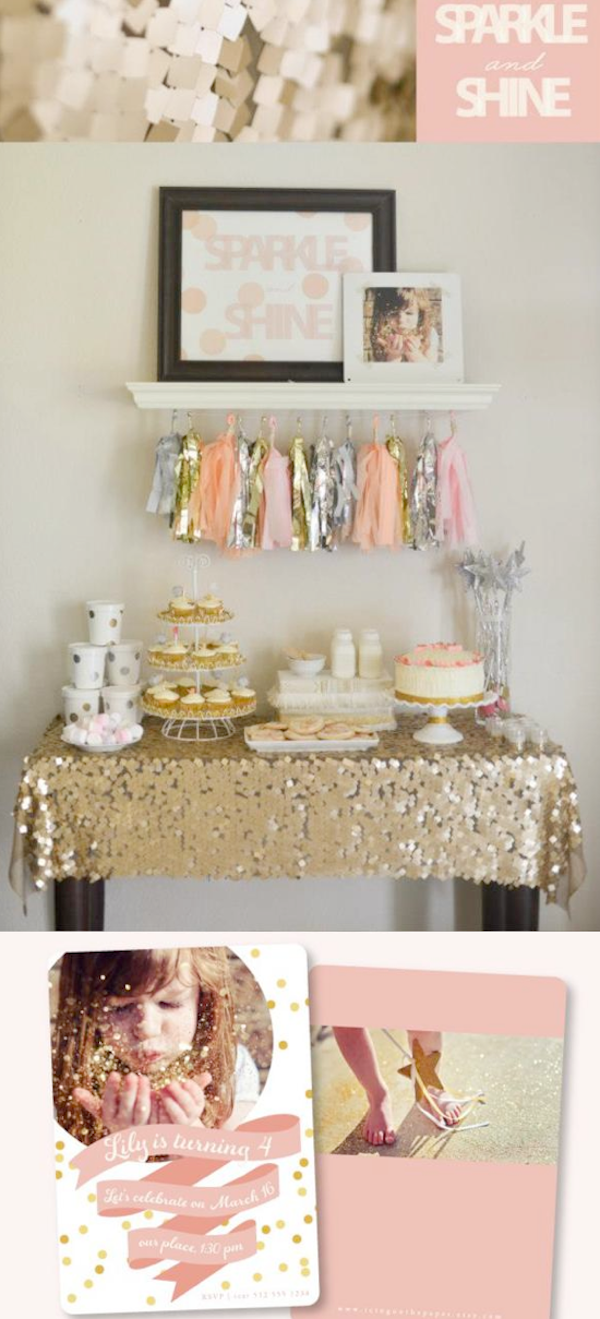 Sparkle & Shine themed birthday party via Kara's Party Ideas | KarasPartyIdeas.com #sparkle #shine #birthday #party #theme #girl #idea #cake #ideas #anthropologie