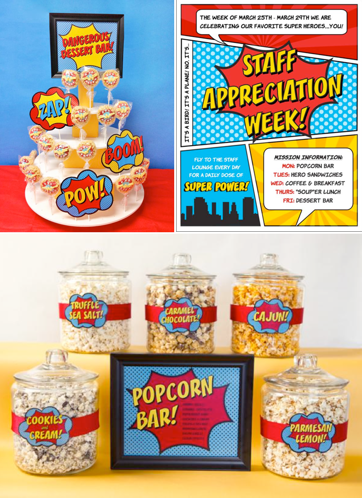 Staff Appreciation Week Superhero Party via Kara's Party Ideas KarasPartyIdeas.com