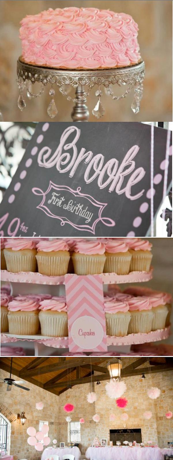 Sweet Vintage Pink Chevron 1st Birthday Party via Kara's Party Ideas KarasPartyIdeas.com #sweet #vintage #pink #chevron #1st #birthday #party #ideas