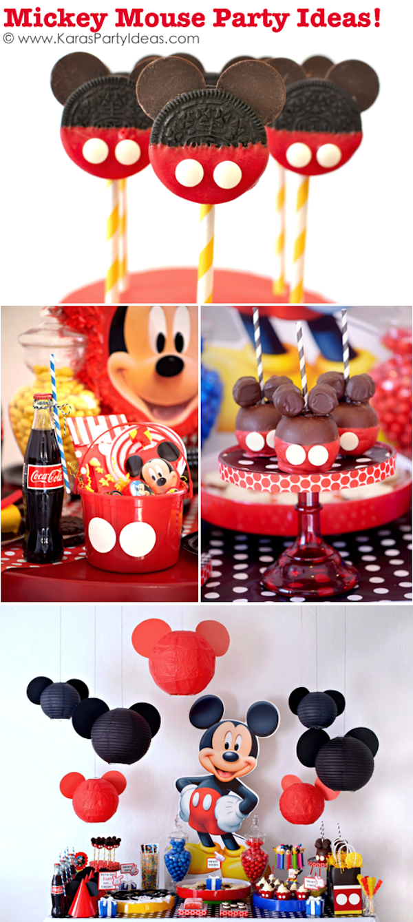 TONS of Mickey Mouse Party Ideas via Kara's Party Ideas KarasPartyIdeas.com #supplies #mickey #mouse #decorations #ideas #party #birthday #cake #favors