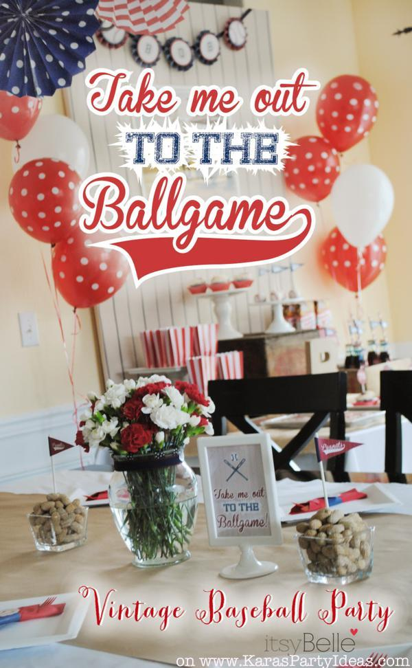 Take me out to the ballgame BASEBALL themed birthday party via Kara's Party Ideas KarasPartyIdeas.com #baseball #boy #birthday #party #idea #decoration #ideas