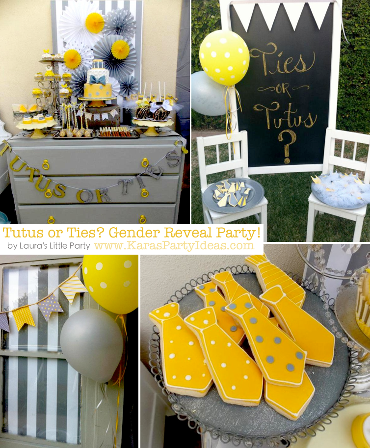Tutus or Ties? Gender Reveal Party! Via Kara's Party Ideas KarasPartyIdeas.com #baby #shower #gender #reveal #ideas #party #tutus #ties #boy #girl #idea