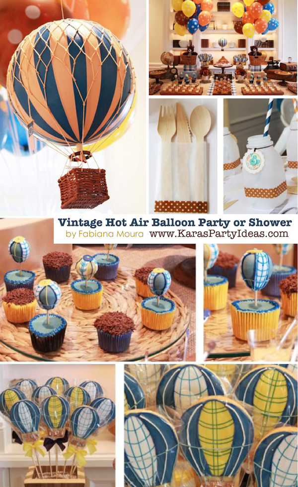 Vintage Hot Air Balloon 1st birthday party or baby shower via Kara's Party Ideas KarasPartyIdeas.com #hotairballoon