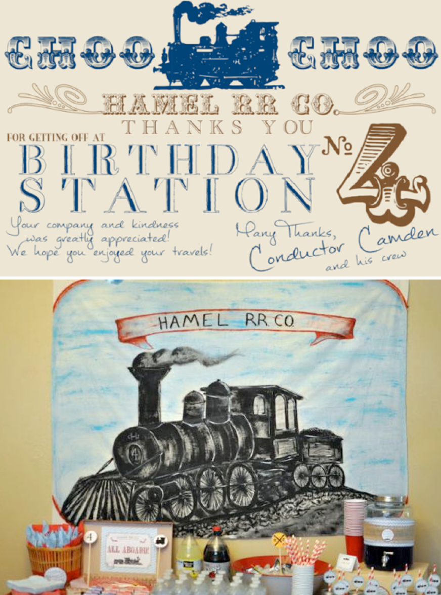 Train themed vintage birthday party ideas cake favors supplies