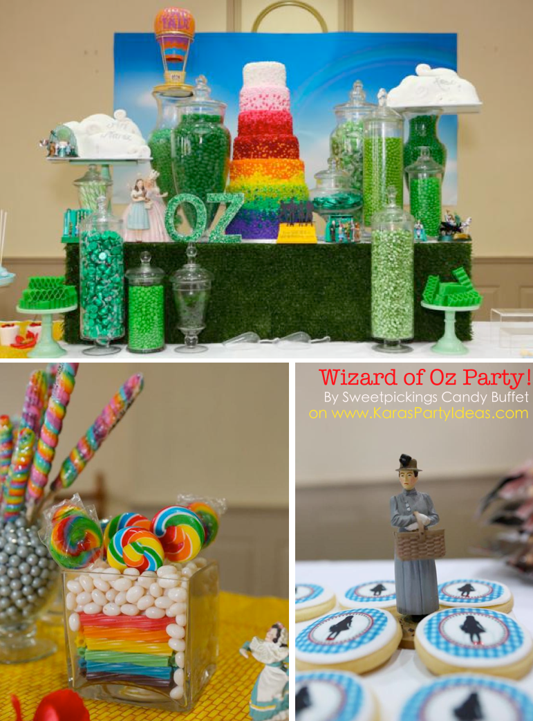 Candy Themed Party Decoration Ideas Part - 37: Karau0027s Party Ideas Wizard Of Oz Rainbow Wedding Party Decorations Planning  Cake Ideas
