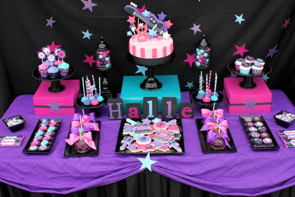 Rock and roll lifestyle cake table decor