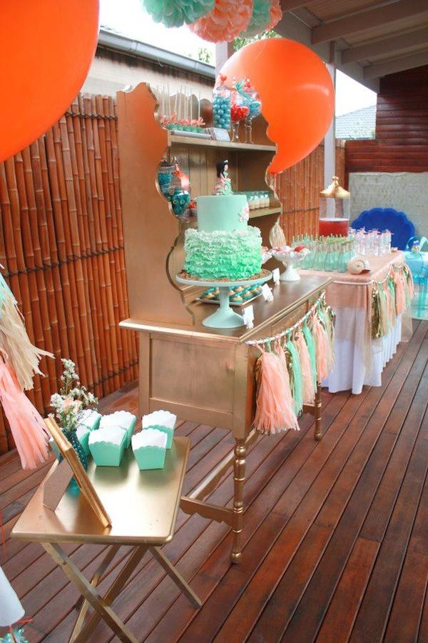 Mermaid girl under the sea party via Kara's Party Ideas! KarasPartyIdeas.com #mermaid #themed #birthday #party #planning #supplies #cake #cupcakes #idea (34)