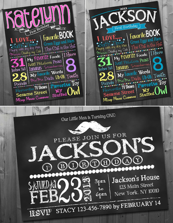 20 percent off birthday child info posters via Kara's Party Ideas KarasPartyIdeas.com #birthday #chalkboard #info #board