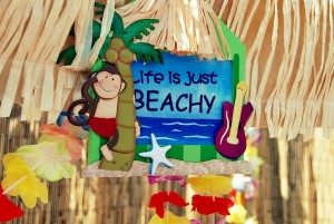 Luau + Surf themed birthday party FULL of ideas! Via Kara's Party Ideas | KarasPartyIdeas.com #summer #pool #luau #surfing #party #themed #idea #cake #supplies #decor #food #desserts (16)