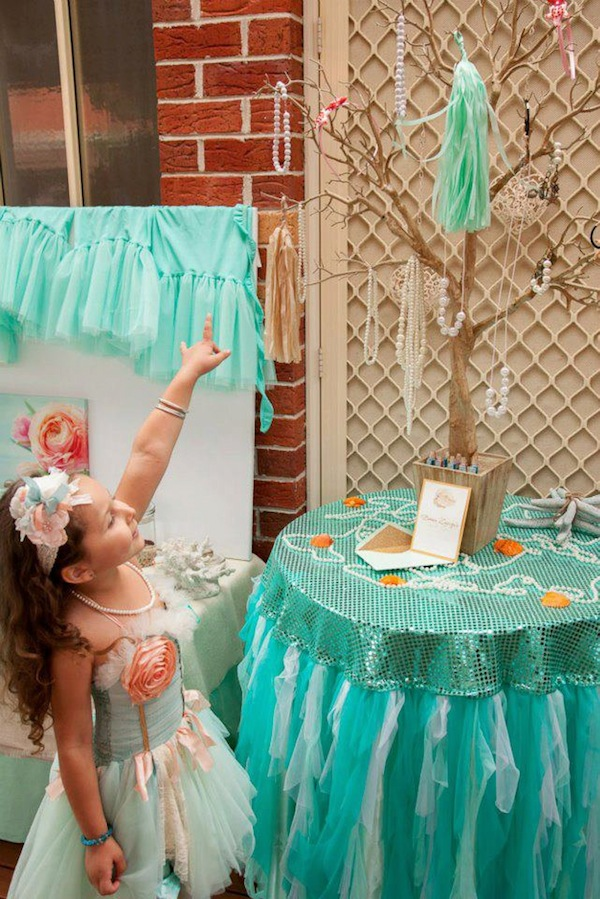 Mermaid girl under the sea party via Kara's Party Ideas! KarasPartyIdeas.com #mermaid #themed #birthday #party #planning #supplies #cake #cupcakes #idea (33)