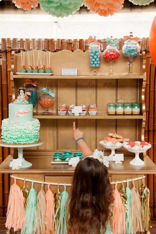 Mermaid girl under the sea party via Kara's Party Ideas! KarasPartyIdeas.com #mermaid #themed #birthday #party #planning #supplies #cake #cupcakes #idea (28)