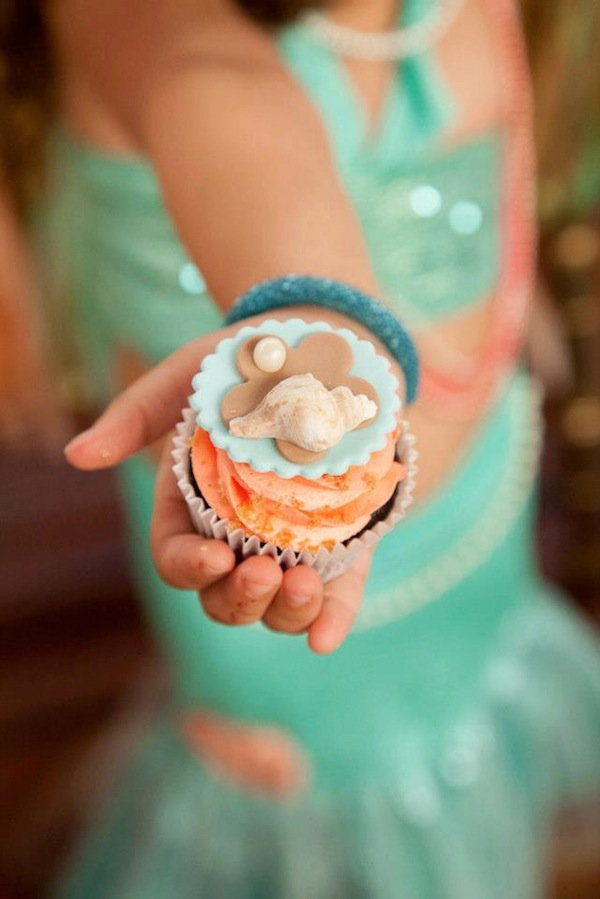 Mermaid girl under the sea party via Kara's Party Ideas! KarasPartyIdeas.com #mermaid #themed #birthday #party #planning #supplies #cake #cupcakes #idea (24)