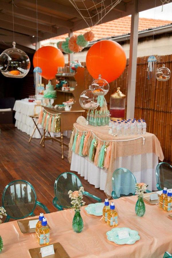 Mermaid girl under the sea party via Kara's Party Ideas! KarasPartyIdeas.com #mermaid #themed #birthday #party #planning #supplies #cake #cupcakes #idea (20)