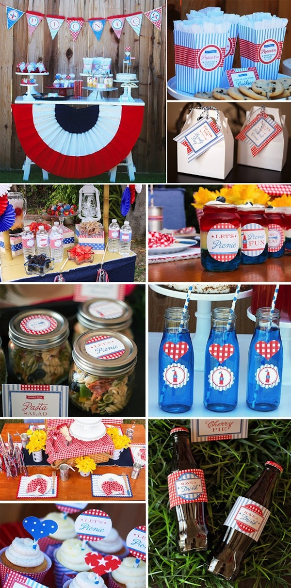 4th of July Patriotic Party Ideas! TONS of inspiration! Via Kara's Party Ideas KarasPartyIdeas.com #4th #july #party #ideas #memorial #day #recipes #treats #picnic #printables