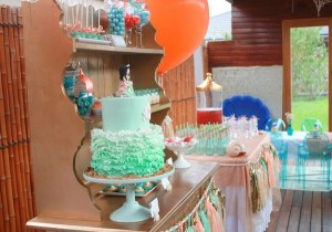 Mermaid girl under the sea party via Kara's Party Ideas! KarasPartyIdeas.com #mermaid #themed #birthday #party #planning #supplies #cake #cupcakes #idea (13)