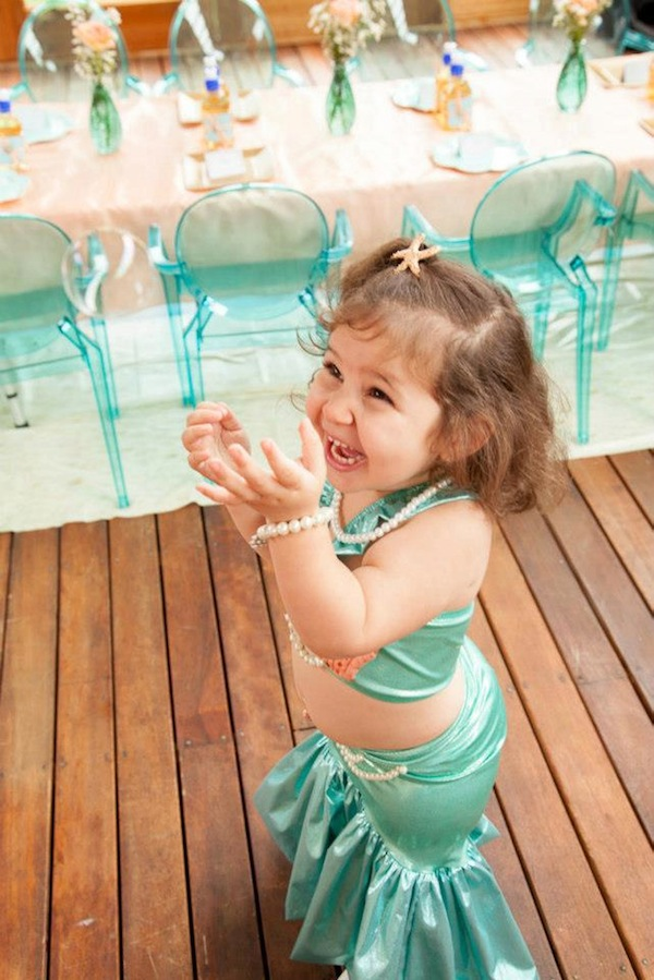 Mermaid girl under the sea party via Kara's Party Ideas! KarasPartyIdeas.com #mermaid #themed #birthday #party #planning #supplies #cake #cupcakes #idea (9)