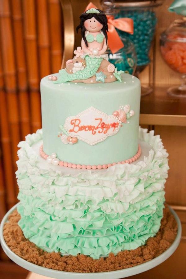 Mermaid girl under the sea party via Kara's Party Ideas! KarasPartyIdeas.com #mermaid #themed #birthday #party #planning #supplies #cake #cupcakes #idea (45)
