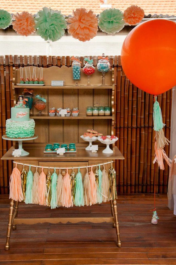 Mermaid girl under the sea party via Kara's Party Ideas! KarasPartyIdeas.com #mermaid #themed #birthday #party #planning #supplies #cake #cupcakes #idea (37)
