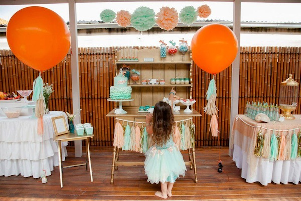 Mermaid girl under the sea party via Kara's Party Ideas! KarasPartyIdeas.com #mermaid #themed #birthday #party #planning #supplies #cake #cupcakes #idea (6)