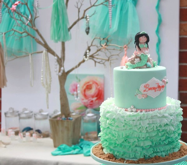 Mermaid girl under the sea party via Kara's Party Ideas! KarasPartyIdeas.com #mermaid #themed #birthday #party #planning #supplies #cake #cupcakes #idea (1)