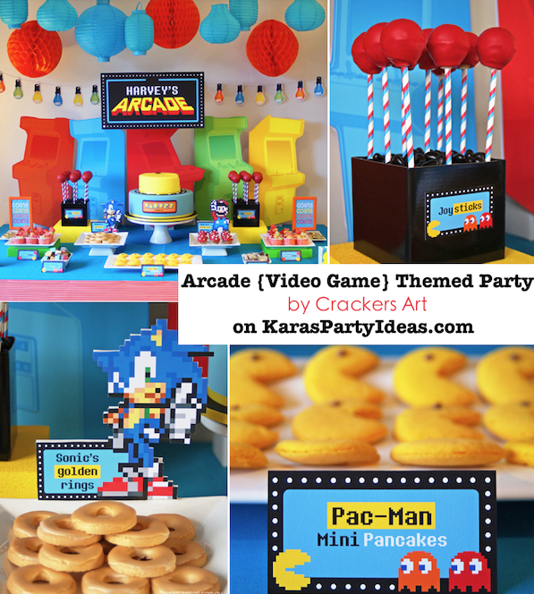 Arcade video game themed birthday party via Kara's Party Ideas KarasPartyIdeas.com #arcade #birthday #video #game #party #pacman #mario #sonic #ideas