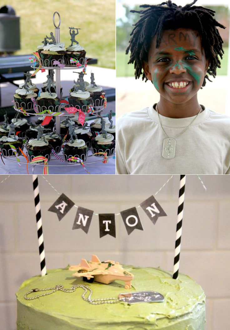 Army Camouflage Camo themed birthday party via Kara's Party Ideas KarasPartyIdeas.com #army #camoflage #camo #birthday #party #supplies #planning #idea