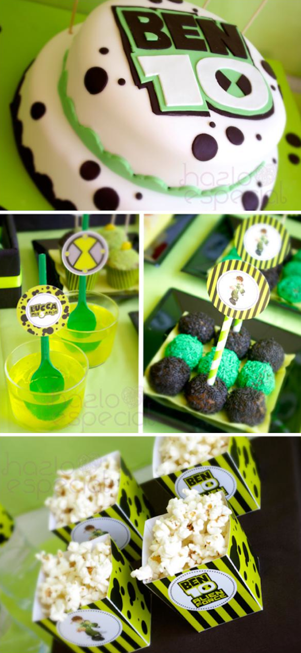 Ben 10 Alien themed birthday party via Kara's Party Ideas KarasPartyIdeas.com #ben #10 #party #ideas #birthday #supplies