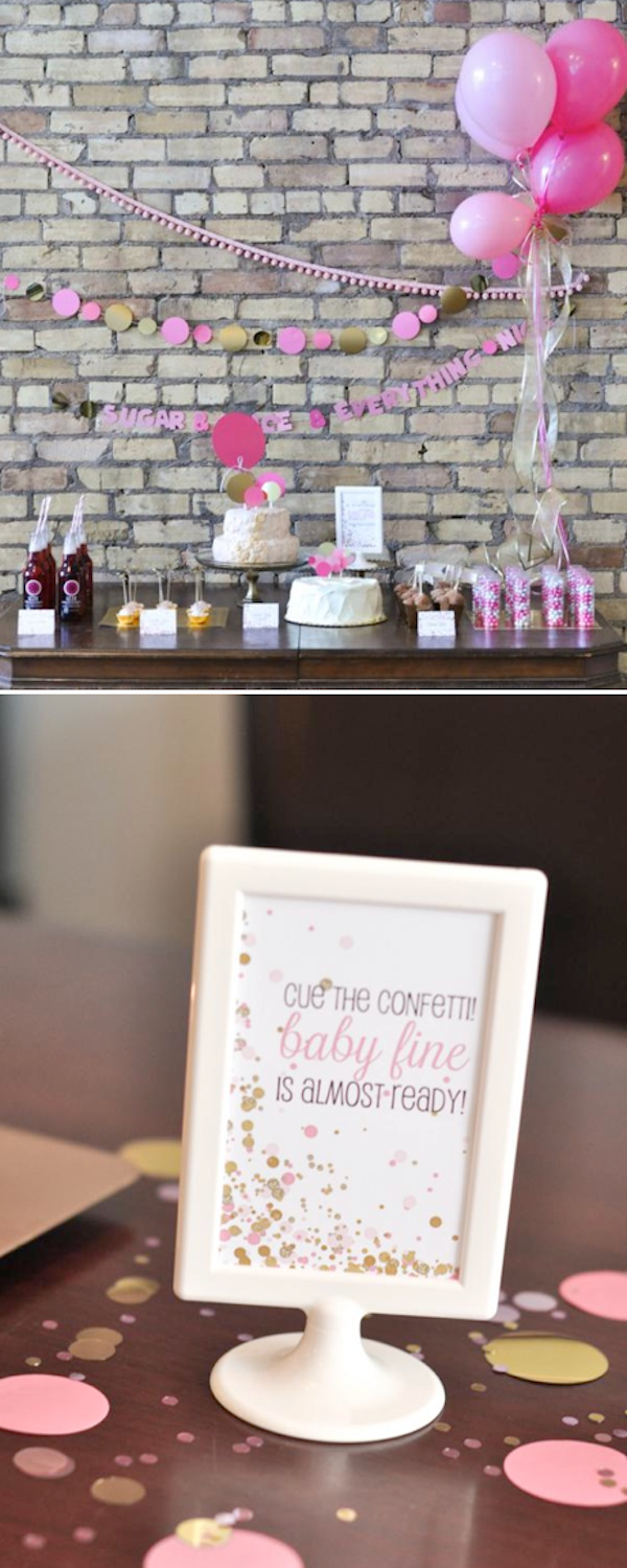 CUE THE CONFETTI BABY SHOWER full of ideas! So cute! Via Kara's Party Ideas KarasPartyIdeas.com