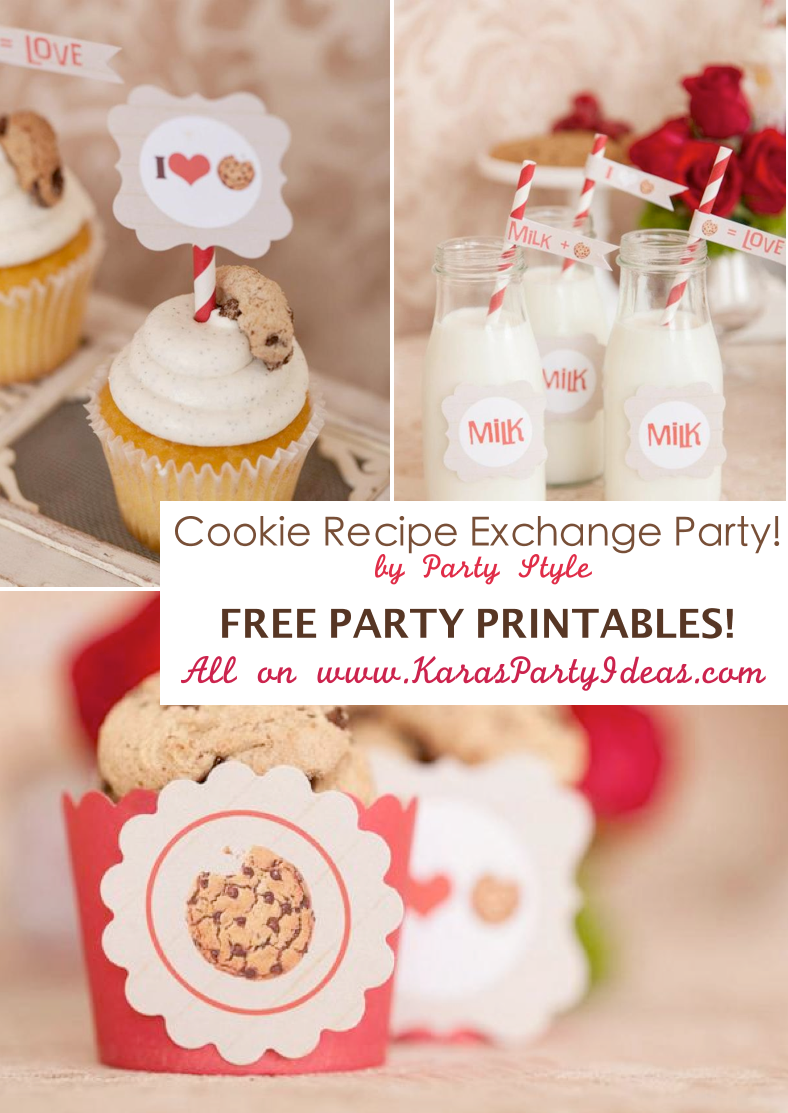 CUTE Cookie recipe exchange party with FREE PRINTABLE TAGS, CUPCAKE TOPPERS, WRAPPERS, RECIPE CARDS & MORE! Via Kara's Party Ideas KarasPartyIdeas.com #free #printables #party #cookie #ideas #recipe #idea