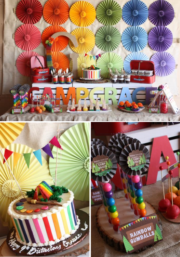 Camp Arts Crafts Rainbow Party via Kara's Party Ideas KarasPartyIdeas.com #camp #arts #crafts #rainbow #party #idea #cake