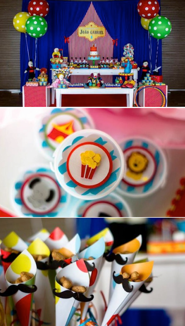 Circus themed birthday party with SO MANY CUTE IDEAS! Via Kara's Party Ideas KarasPartyIdeas.com #circus #birthday #party #idea