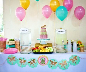 Cupcakes and Carousels 2nd Birthday Party via Kara's Party Ideas | Kara'sPartyIdeas.com #cupcake #carousel #birthday #party (10)