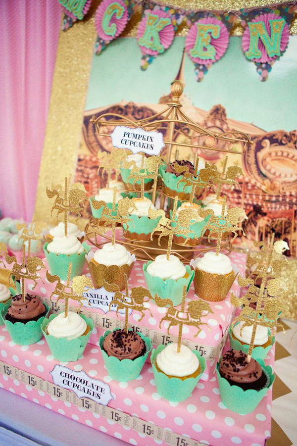 Karas Party Ideas Cupcakes and Carousels 2nd Birthday Party via
