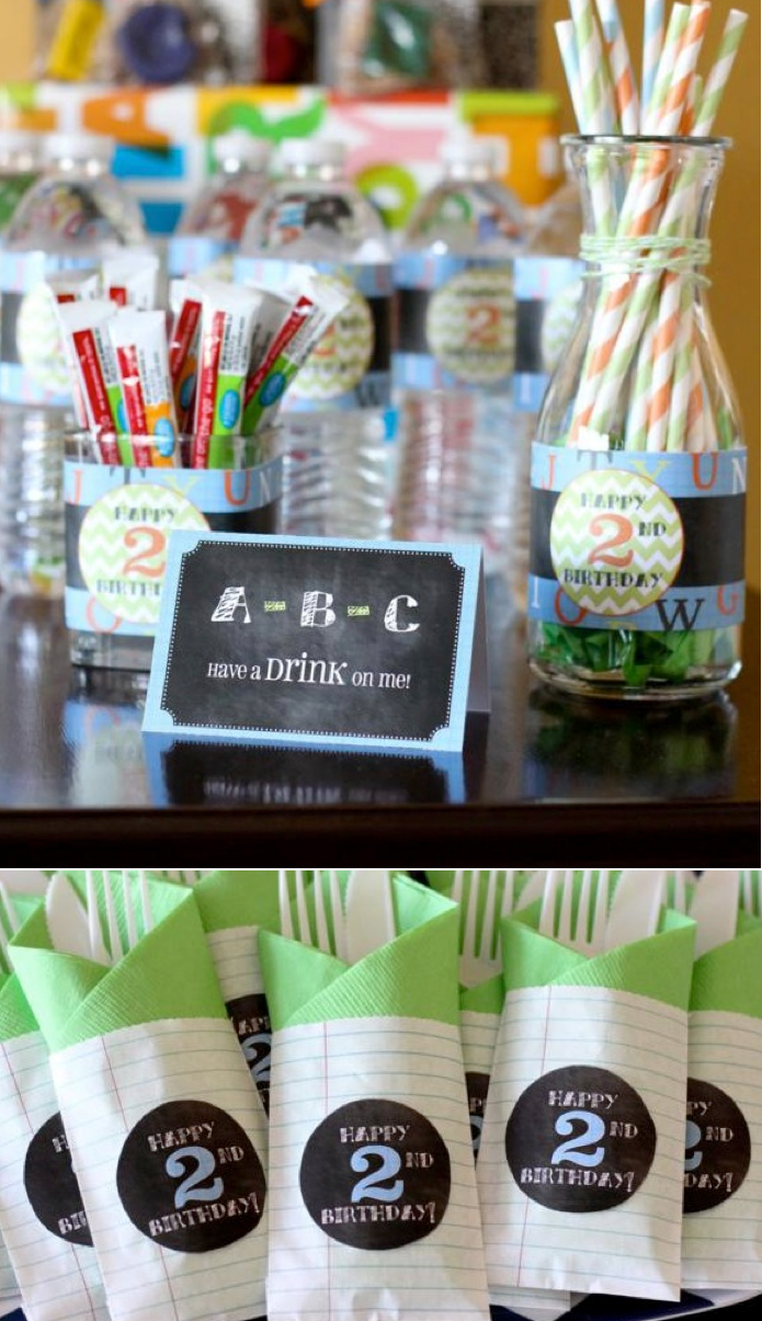Cute toddler party theme! Alphabet ABC birthday party via Kara's Party Ideas. Cute Teacher gift ideas, too! KarasPartyIdeas.com #abc #alphabet #birthday #party #idea #teacher #gift #ideas