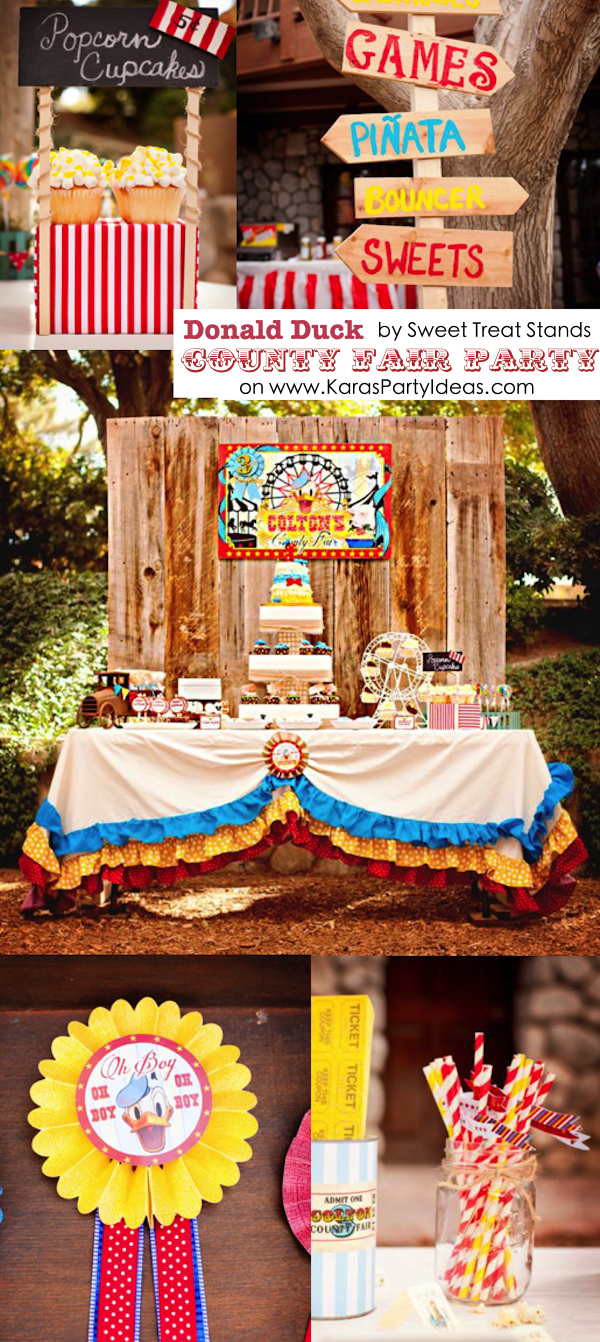 Donald Duck COUNTY FAIR themed birthday party via Kara's Party Ideas KarasPartyIdeas.com #duck #donald #party #county #fair #themed #supplies #ideas #decor #cake #idea