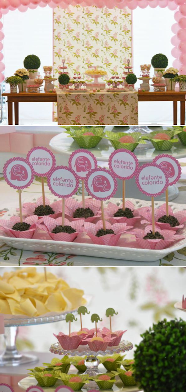 Elephant themed first birthday party with a lot of cute ideas! Via Kara's Party Ideas KarasPartyIdeas.com #elephant #party #ideas #birthday