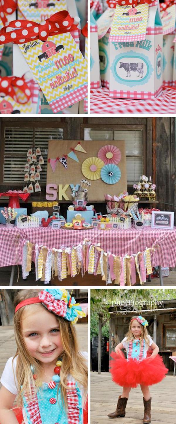 Farmyard Barn themed birthday party with SO many cute ideas! Via Kara's Party Ideas KarasPartyIdeas.com #western #cowgirl #farm #barnyard #birthday #party #idea #supplies