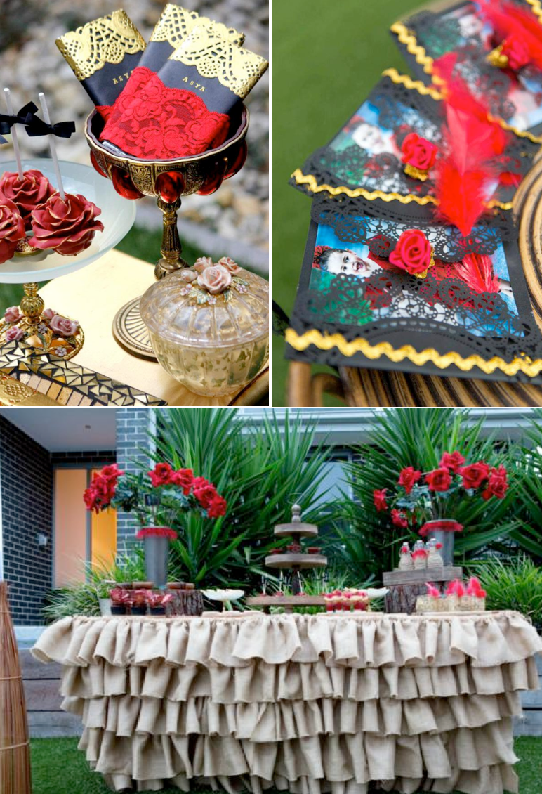 Flamenco Spanish Dancer Rose themed birthday party with tons of ideas! Via Kara's Party Ideas KarasPartyIdeas.com #spanish #dancer #flamenco #birthday #party #rose #cake #dress #idea