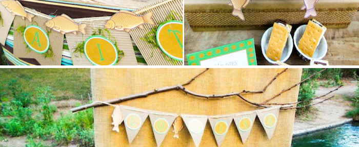 Gone Fishiing themed birthday party via Kara's Party Ideas KarasPartyIdeas.com #gone #fishing #fish #fisherman #themed #party #ideas #father's #day #dad