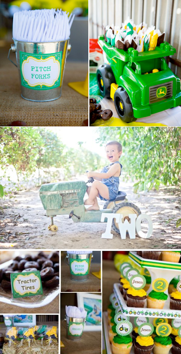 John Deere Tractor themed birthday party with so many cute farm party ideas! Via Kara's Party Ideas KarasPartyIdeas.com #farm #tractor #john #deere #party #idea