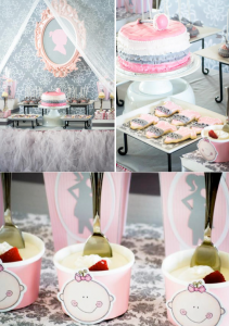 Pink & Grey Baby Shower full of cute ideas! Via Kara's Party Ideas KarasPartyIdeas.com #pink #grey #gray #baby #shower #princess #tulle #table #skirt #party #supplies #idea