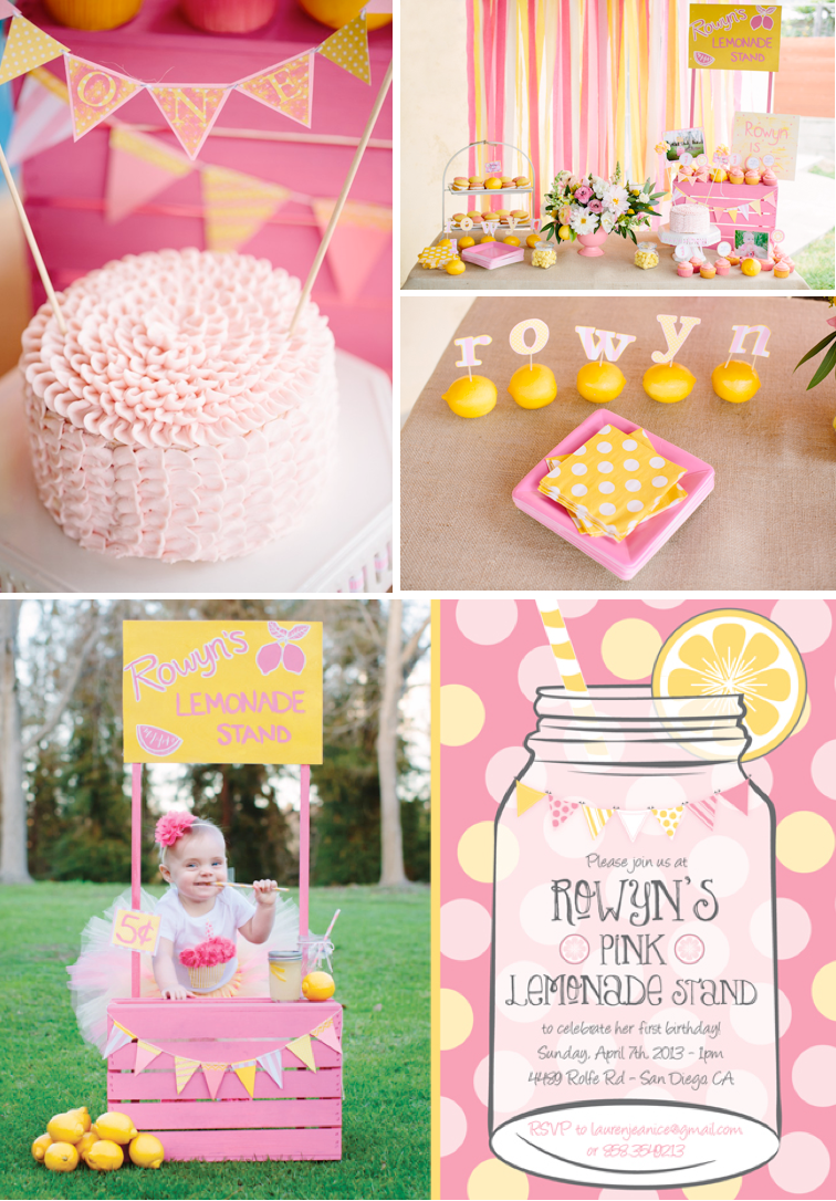 Kara 39 s party ideas pink lemonade girl summer 1st birthday for Baby girl first birthday party decoration ideas