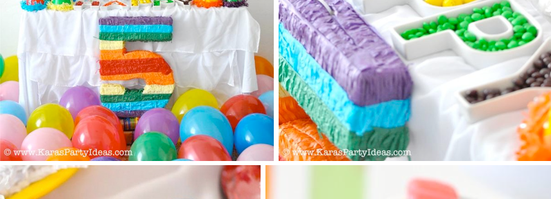 Rainbow Themed birthday party with SO many ideas! Cute printable party pack! Via Kara's Party Ideas KarasParty Ideas.com #rainbow #birthday #party #ideas #cupcakes #printables #supplies #cake #cupcakes #favors #drinks