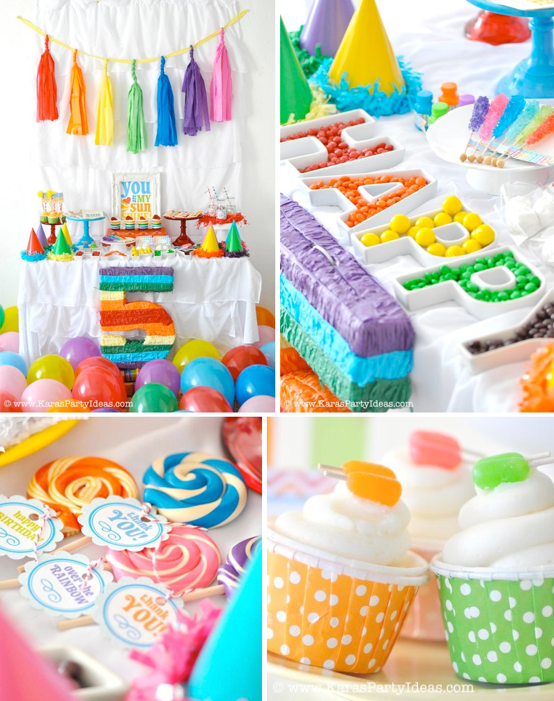 Rainbow Themed Birthday Party With SO Many Ideas Cute Printable Pack Via Karas