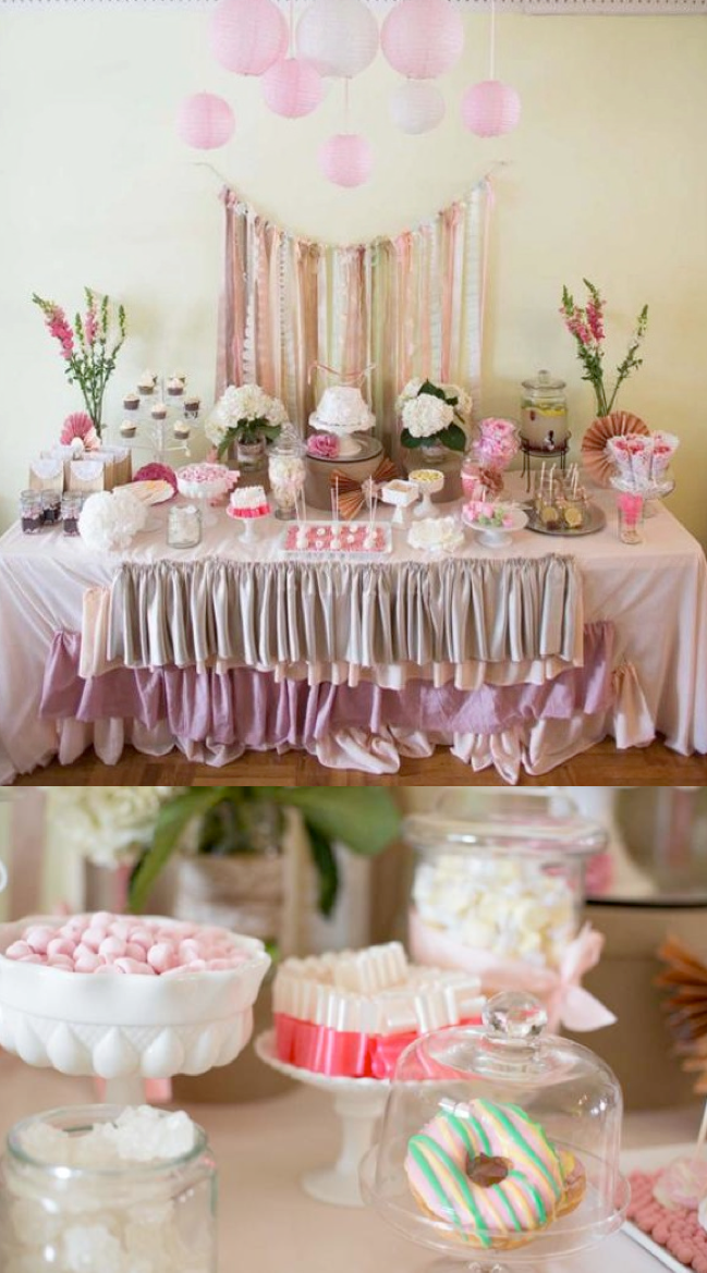 SHABBY CHIC + LACE party ideas! Love the ruffle tablecloth. More ideas via Kara's Party Ideas KarasPartyIdeas.com